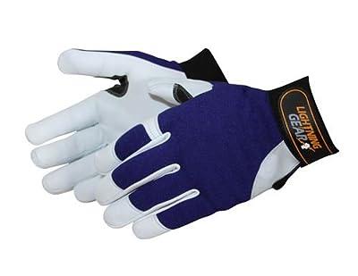 Liberty Lightning Gear Premium Grain Goatskin Leather Mechanic Glove with Reinforced Fingertips and Palm