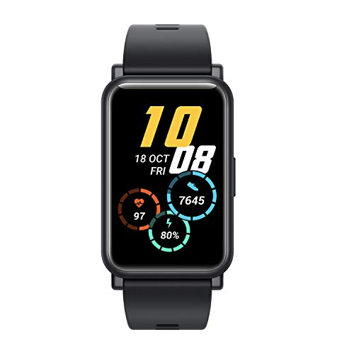 """HONOR Watch ES (Black, 4.16cm (1.64"""") AMOLED Touch Display) 95 Workout Modes, Automatic Workout Recognition, 12 Animated Workout Courses, Fast Charge, SpO2, Stress, Sleep Monitor, Watch Face Store"""