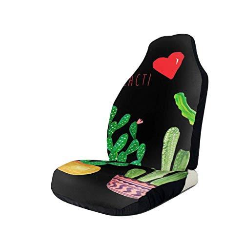 AEMAPE Cactus 4 fundas de asiento de coche con signo de la paz para el protector de asiento delantero del vehículo que se adapta a la mayoría de los coches, camiones, SUV