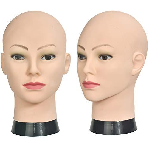 Si Fi - Testa di manichino professionale calva per parrucche per la creazione e l'esposizione della testa di bambola, con morsetto incluso