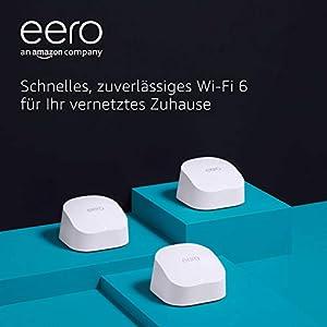 Das brandneue eero-6-Dualband-Mesh-Wi-Fi-6-System von Amazon mit eingebautem Zigbee Smart Home-Hub | 3er-Pack