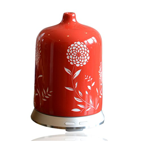 Smiley Daisy Aromatherapy Essential Oil Diffuser - Quiet Electric Ultrasonic with Beautiful Handcrafted Porcelain Cover - Continuous and Intermittent Mist with LED Light - 100 ML(Ruby Red)
