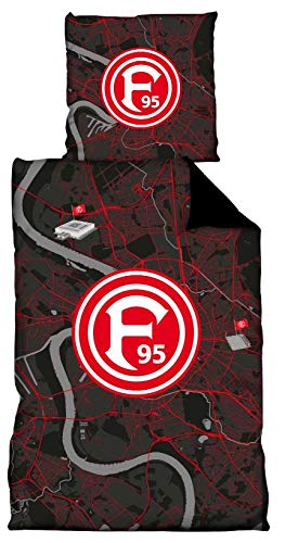 Fortuna Düsseldorf Bettwäsche Stadtkarte 100% Baumwolle 80 x 80 cm - 135 x 200 cm Fanartikel