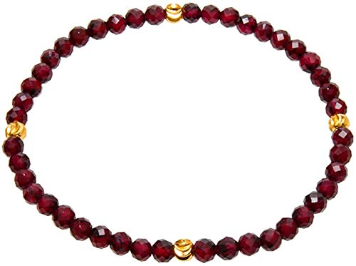 Plztou Feng Shui Bracelet Natural Garnet Cut Corner Gemstone 14K Gold Jewelry Yoga Meditation Lucky Charm Stretchable for Women,4mm (Size : 4mm)