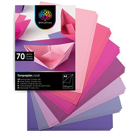 OfficeTree Tonpapier Rosa A4 - Bastelpapier 70 Blatt 130g/m² - 7 Rosa Töne - Fotokarton A4 zum Basteln und Gestalten - Blauer Engel zertifiziert