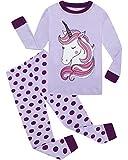 Little Girls Pajamas 100% Cotton Long Sleeve Pjs Toddler Clothes Kids Sleepwear Shirts Size 6 Purple