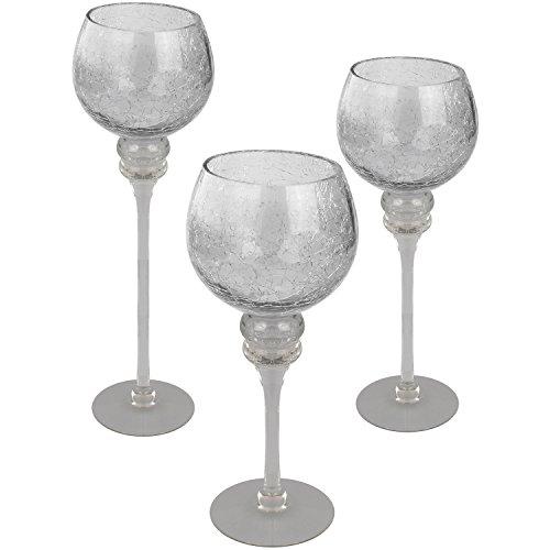 Wohaga 3er Set Glaskelch Windlichter H30/35/40cm mit transparenten Kelch in Bruchglasoptik Kerzenhalter Kerzenleuchter Kerzenständer Glaskelch auf Fuß