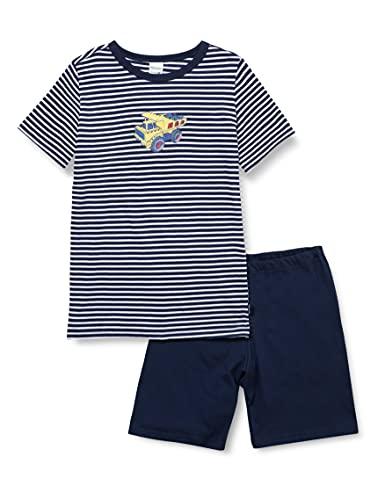 Schiesser Kinder Jungen kurzer Schlafanzug - Organic Cotton, Blau, 128