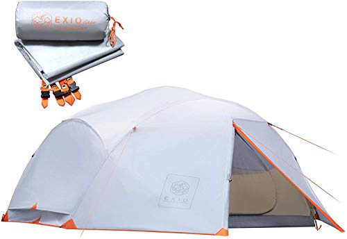 Backpacking Tent, 4 Person Tent for Camping, 3 Season Freestanding Camping Tent with Full Rainfly, Footprint, Aluminum Poles & Stakes - 20D Waterproof Rip-Stop PU Coated Nylon, Compact & Lightweight