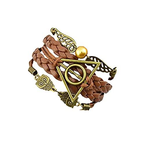Pulseras de Harry Potter, pulsera de cuero de PU con alas y búhos de snitch dorados, pulsera tejida, para hombres y mujeres, pulsera de reliquias de la muerte, regalo para amantes