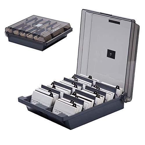 SUNSHINETEK 1000 tarjetas Organizador de tarjetas de visita Soporte de escritorio Tarjeta de nombre Caja de almacenamiento con divisores y pestañas de índice