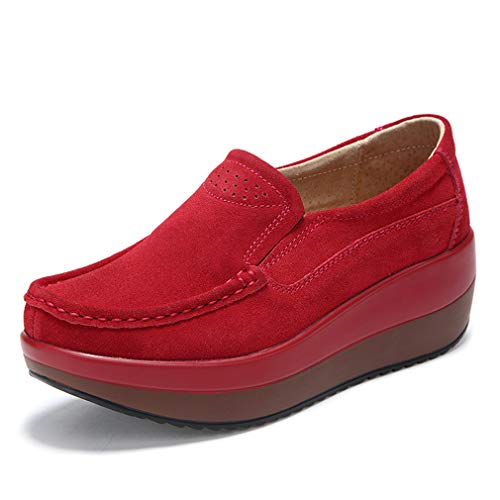 Solshine Damen Wildleder Plateau Loafers Walkmaxx Keilabsatz Mokassins Slipper Rot 39EU