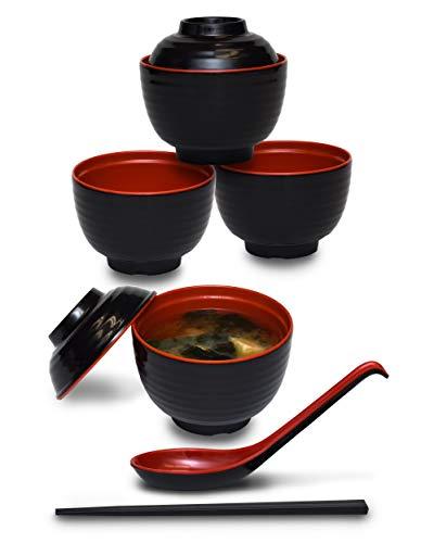 Lot de 4 bols à soupe Miso avec couvercles assortis et cuillères et baguettes Rouge