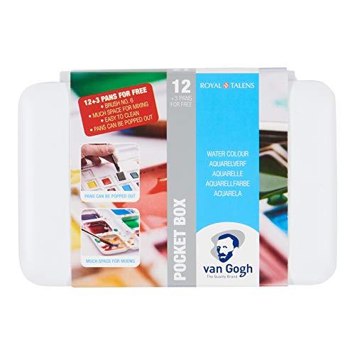 Van Gogh Watercolor Paint Set, Plastic Pocketbox, 12-Half Pan + 3-Half Pan Bonus General Selection