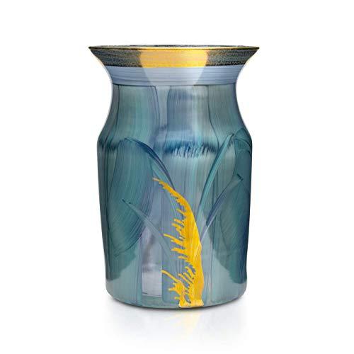 Angela Neue Wiener Werkstätte Vase MIRA, Aqua Jarrón de Cristal Pintado, Dorado, Azul, mittelgroß