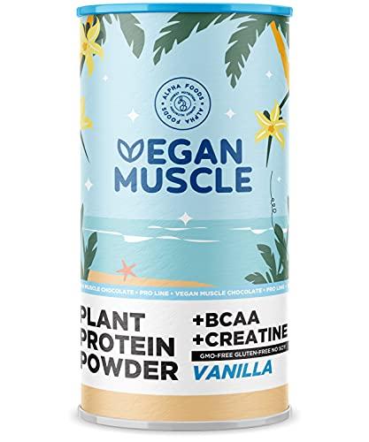 Proteina Vegana Musculos - VAINILLA - Proteína vegetal de semillas germinadas - Enriquecida con BCAA y creatina - 600 g en polvo