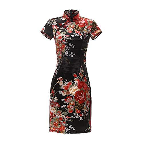 Skirts Plus talla 6XL Black Flower Cheongsam Sexy Split Mini Chino Traditioanl Dress Satin Mujer Collar Dresses Black C. XXL