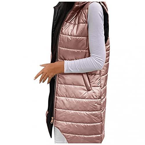 Gilet in piumino da donna, leggero, leggero, trapuntato, senza maniche, con cappuccio, taglia grande, invernale, leggero, antivento, giacca invernale calda, Colore: rosa., XXXL