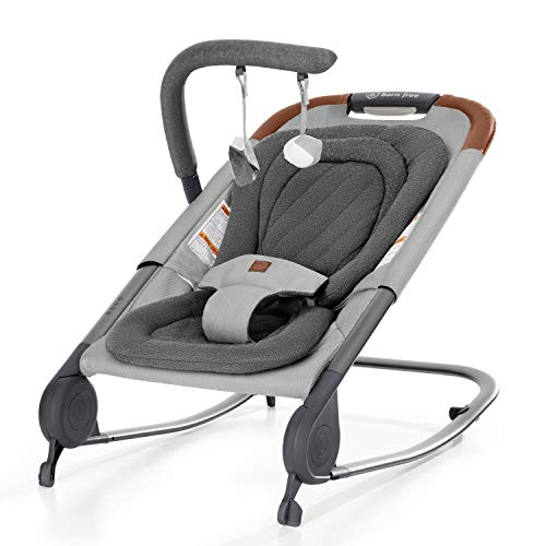 born free KOVA Baby Bouncer - Baby Rocker with Two Modes of Use, Removable Toys and Compact Fold for Storage or Travel - Easy to Clean, Machine Washable Fabrics, Grey
