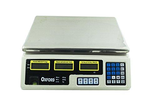 Oxfo Bilancia Elettronica 40 kg Professionale Digitale per PESARE Frutta Verdura PESA