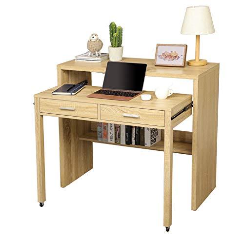 Itaar Ausziehbarer Schreibtisch mit Schubladen, Home-Office-Schreibtisch mit Lagerregal, Zweistufiger Eingangstisch mit Schubladen, Kompakter Schreibtisch für kleinen Raum, Holzarbeitsplatz (Natur)