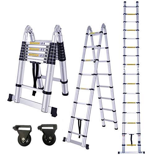 HENGMEI 5M Alu Teleskopleiter Klappleiter Stehleiter Schiebeleiter Mehrzweckleiter Leiter Anlegeleiter Aluleiter (5M, Klappleiter)