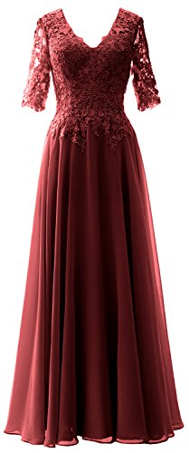 MACloth Long Maxi Mother Bride Dresses Short Sleeve Lace V Neck Evening Gown (Custom Made, Burgundy) (Apparel)