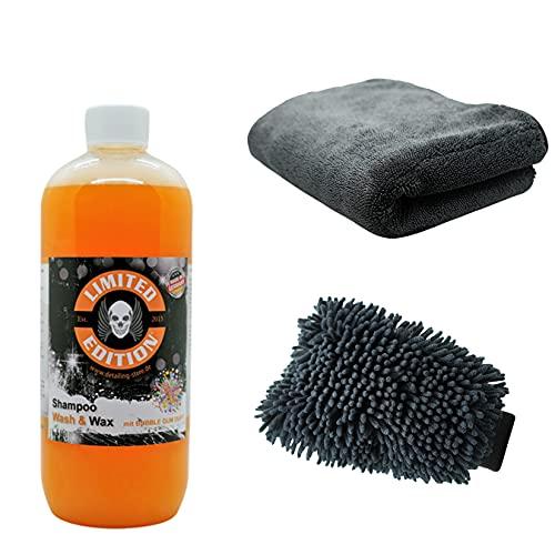 Juego de lavado para coche de 1 l, champú para coche + cera de chenilla + paño de secado XL – lavado de coche, solo lavado a mano