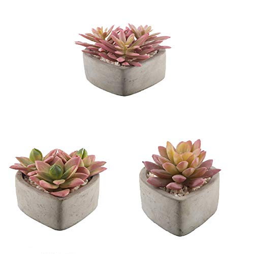 Flora Bunda Artificial Plant Pink Succulent Cactus Garden in 3.75 in Cement Heart,Set of 3