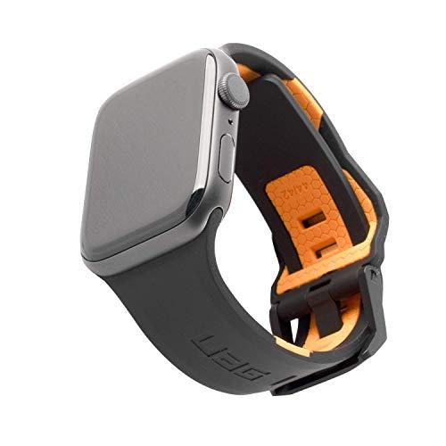 Urban Armor Gear Civilian Armband für Apple Watch 42mm/ 44mm [Watch SE, Series 6 / Series 5 / Series 4 / Series 3 / Series 2 / Series 1, Weiches Silikon, Edelstahl Verschluss] schwarz / orange