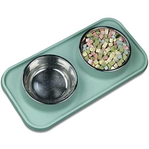 Yousiju Tazón antideslizante para perros y gatos, cuenco doble con alfombrilla de silicona para alimentos para perros y gatos, plato de comida para cachorros (color: A)
