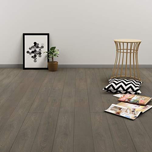 SOULONG PVC Klickboden Dielen Laminatboden Terrassendielen Bodenbelag für alle Arten von festen und Ebenen Oberflächen, 122 x 18 cm, Stärke 4 mm, 3,51 m², Grau und Braun