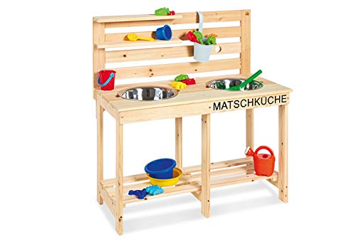 Pinolino Matschküche Paul, unbehandelt, vollmassives Holz, Durchlass für einen Gartenschlauch in der Rückwand, für Kinder ab 3 Jahren