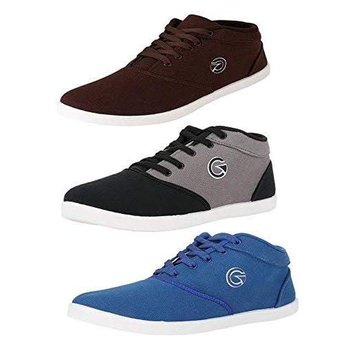 Globalite Men's Cotton Multi Colour Combo Of 3 Sneakers