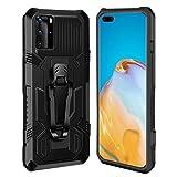 Ubrand DBLX Funda para Huawei P40 Pro, con [Pinza de cinturón][Soporte Base] Caracteristicas de Carcasa, Anti-arañazos, Anti-Golpes, Militar Libro Bumper telefono Case - Negro