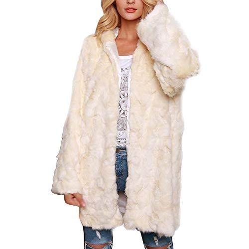 Vertvie Dames bontmantel bontjas kunstbont mantel lang elegant effen pluizig ronde hals warm lange mouwen outdoor winterjas