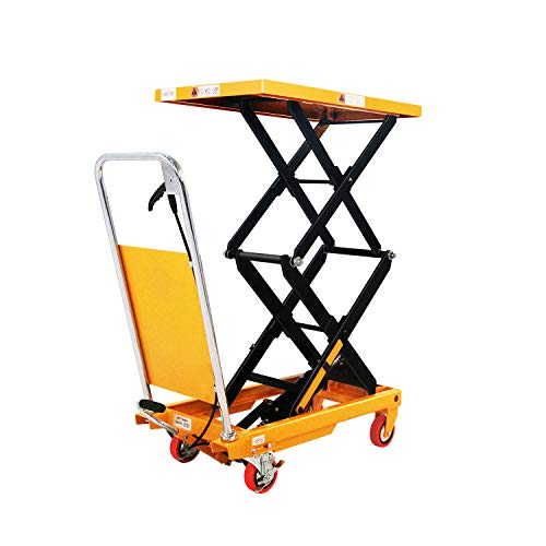 """SOVAN'S Manual Double Scissor Hydraulic Lift Table Cart - 770lbs   51.2"""" Lifting Height   Platform Size 35.8"""" x 19.7"""" with Safety Gaurd"""