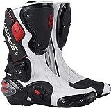 FGDFGDG Botas de Motocross Fabricadas en Cuero, Botas de Moto para Hombre Impermeables con ventilación Ajustable, Botas de Moto Botas Cruzadas Botas Deportivas de Carreras con Protectores,Blanco,45