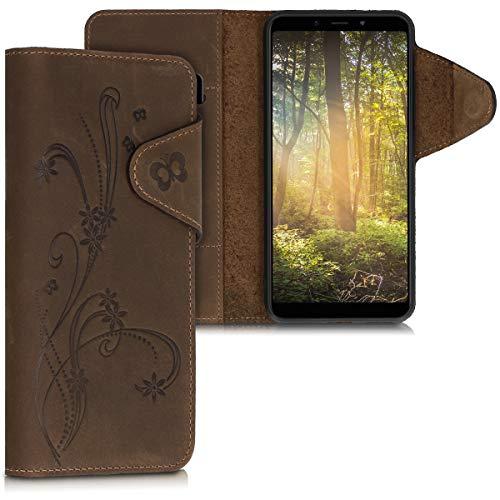 kalibri Wallet Hülle kompatibel mit Xiaomi Mi 6X / Mi A2 - Hülle Leder - Handy Cover Handyhülle Ranken Schmetterling Braun
