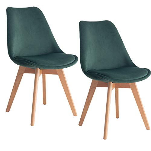 MIFI 2er Set Esszimmerstühle mit Massivholz Buche Bein Retro Design Samt Gepolsterter Stuhl Küchenstuhl Holz (Dunkelgrün, 2 x Esszimmerstühle)