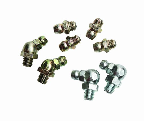 Lumax LX-4801 Gold/Silver (SAE) 1/4'-28 Taper Thread 8 Piece Grease Fitting Assortment. Every Fitting is Individually Inspected, and Batch Tested to 5,000 PSI.