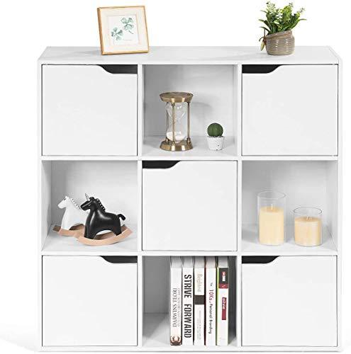 Goplus Mensola Libreria, Armadietto Libreria in Legno con 9 Cubi e 5 Ante, Mobile Scaffale Porta Libri CD per Soggiorno Camera da Letto Ufficio (Bianco)