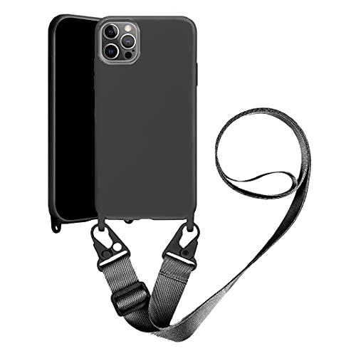 Handykette Handyhülle kompatibel mit Apple iPhone 12 Pro Max Necklace Hülle Nylon Schultergurt Weich Silikon TPU Cover mit Kordel zum Umhängen Schutzhülle mit Stylische Band (schwarz)
