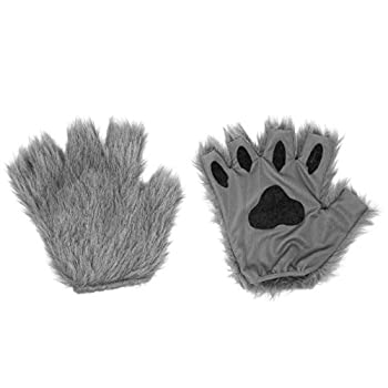 Gray Furry Cat Dog Bear Wolf Fox Paws Gloves Costume Accessory Set - One Size Fits Most