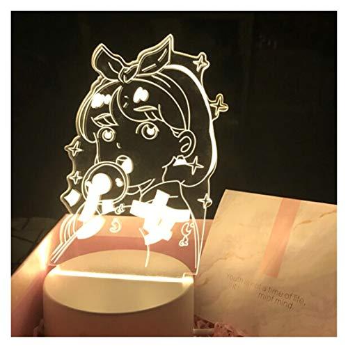 yywl Lámparas de Mesa Anime Marinero Luna 3D Noche luz Creativo Dormitorio de Noche led lámpara de Mesa decoración Chicas sueño Color cambió la luz Nocturna