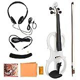 Dilwe 4/4 Violín Eléctrico, Violín de Madera Eléctrico de Tamaño Completo con Colofonia AuricularInstrumento Musical de Cuerda(Blanco)