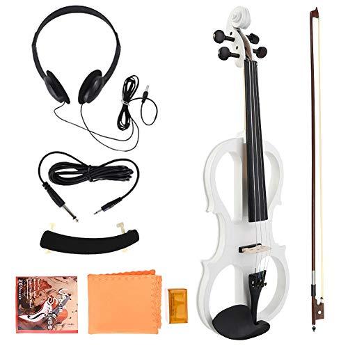 Violino 4/4 Elettrico Violino Corpo in Acero con Cuffia Colofonia per Violino Prestazioni Professionali(White)