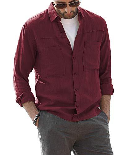 AUDATE Herren Hemd Regular Fit Langarm Kent-Kragen Hemden Brusttasche Mens Shirt Weinrot 2XL