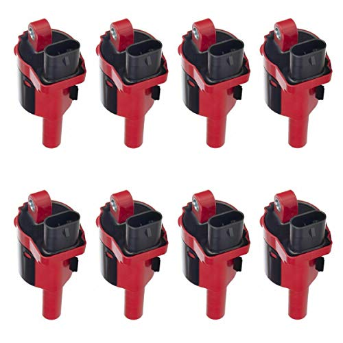 8 Piece Premium High Performance Ignition Coil Round Style Compatible with Silverado Sierra