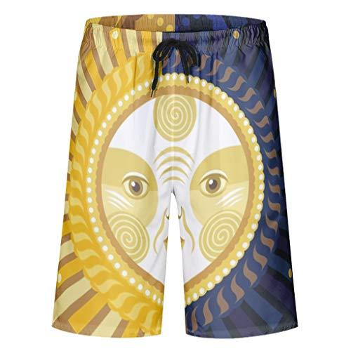 Chanpin Mandala 3D-Druck Herren-Badehose Badebekleidung Schnell trocknen mit Elastic Waist und Pockets Sun Art White XL